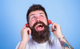 Summer hit concept. Man bearded hipster red ripe strawberry ears as headphones. Guy enjoy juicy sound summer hit song. Music. Hipster beard listen music Royalty Free Stock Image