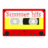 Summer hits. Cassette tape with summer hits for summer party  illustration. Summertime disco. Retro audio cassette tape Stock Photos