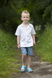 Summer hlidays: little boy in the wood Royalty Free Stock Photography