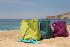 Summer holiday � three vivid bags on the seacoast Stock Image