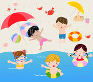Summer holiday. Children summer holiday -illustration art,cute Royalty Free Stock Images