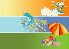 Summer Holiday. Vector illustration of beach and summer theme Royalty Free Stock Photo
