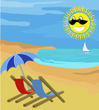 Summer holiday. Deck chairs on a beach with sunny face and yacht in the distance stock illustration