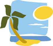 Summer Holiday. Illustration of a sunny island Royalty Free Stock Images