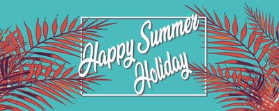 Happy summer holiday. Frame tropical background with palm trees vector illustration