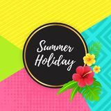 Summer Holiday with Abstract Geometric Design. With Tropical Floral and Leaves Royalty Free Stock Photography