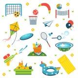 Summer holiday activity symbols set. Vector illustration set of isolated vacation summer elements. Royalty Free Stock Photography