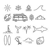 Summer holiday adventure line art icon set Stock Photo
