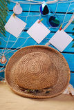 Summer holiday background  on blue wooden planks Royalty Free Stock Photos