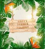Summer holiday background with exotic palm leaves Stock Photos