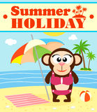 Summer holiday background with monkey Royalty Free Stock Photo