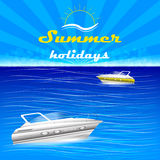 Summer holiday background with motorboats and water Royalty Free Stock Photos