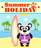 Summer holiday background with panda Royalty Free Stock Images