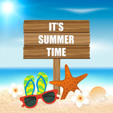 Summer holiday background. Season vacation, weekend. Vector Illu Stock Photo
