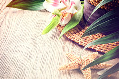 Summer holiday background with straw hat Stock Photography