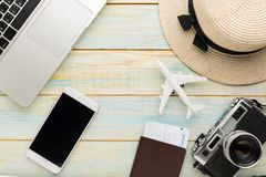 Summer holiday background, Travel and vacation items on wooden table. Top view. Closeup Summer holiday background, Travel and vacation items on wooden table. Top royalty free stock image