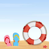 Summer Holiday Background. A summer holiday background with a tropical sand beach with flip flops, a life buoy and a starfish. Eps file available Royalty Free Stock Photography