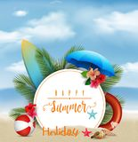 Summer holiday background with a white circle for text and beach elements. Illustration of Summer holiday background with a white circle for text and beach stock illustration