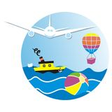 Summer holiday, banner, airplane, summer activities, air transport, balloon and boat, vector icon stock illustration