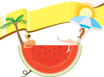 Summer holiday with banner Stock Photos