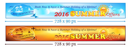 Summer Holiday 2016 Banner set for travel agencies. Royalty Free Stock Images