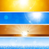 Summer Holiday Banners. Abstract summer nature holiday banners with shining sun and blurry lights Royalty Free Stock Images