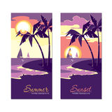 Summer holiday banners with sunset in flat design style Royalty Free Stock Photography
