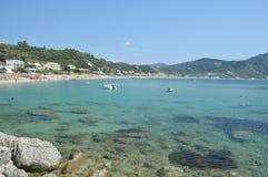 Beatiful bay in corfu island greece. Summer holiday beach blue sea royalty free stock photo