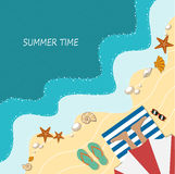 Summer holiday on a beach, flat style. On the image  is presented summer holiday on a beach, flat style Royalty Free Stock Photo