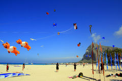 Summer Holiday Beach Kite Competition, Sicily Stock Photos