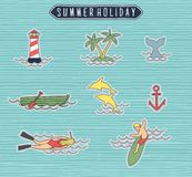 Summer holiday or beach label set. Print vector or background illustration Royalty Free Stock Photos