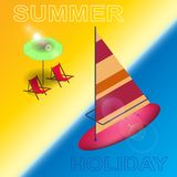 A summer holiday on the beach, sea sports, and fun. Isolated elements. Bright background. In vector Royalty Free Stock Photo