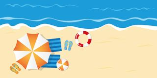 Summer holiday on the beach top view royalty free illustration