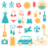 Summer, Holiday, Beach, Travel Icon Set Stock Photos