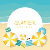 Summer holiday on the beach umbrella stock illustration