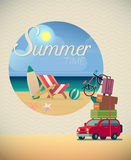 Summer holiday in beach vector illustration Royalty Free Stock Photography