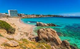 Summer holiday at beautiful beach on Majorca island, Cala Ratjada. Seaside beach of Son Moll in Cala Rajada, Mallorca island, Mediterranean Sea, Baleares royalty free stock image