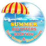 Summer Holiday - Book now and Save Money Stock Photo