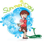 Summer holiday with boy playing water Royalty Free Stock Photos