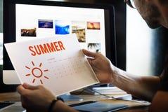 Summer Holiday Calendar Sun Graphic Concept Royalty Free Stock Photos