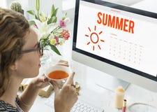Summer Holiday Calendar Sun Graphic Concept Stock Photography