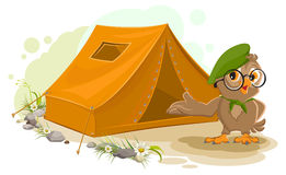 Summer holiday camp. Scout owl standing near tent. Owl bird tourist tent set. Camping Stock Photos