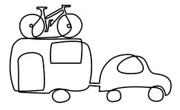 Summer holiday car trip one line drawing Royalty Free Stock Photos
