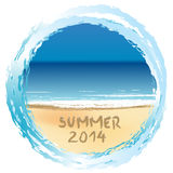 Summer 2014 holiday card. With beach Royalty Free Stock Image