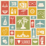 Summer holiday card with flat elements Royalty Free Stock Photos