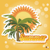 Summer holiday card with palm trees and flip flops, vector Royalty Free Stock Photo