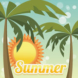 Summer holiday card with palm trees and flip flops, vector Royalty Free Stock Image