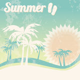 Summer holiday card with palm trees and flip flops, vector Stock Photo
