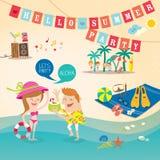 Summer holiday cartoon background clip art Stock Photos
