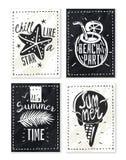 Summer holiday chalk posters set stock illustration